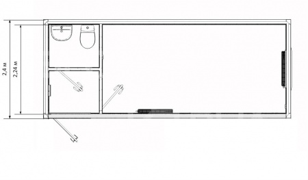 Блок-контейнер прорабская с санузлом — дополнительное фото 3