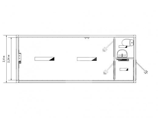 Блок-контейнер для рабочих с тамбуром и санузлом — дополнительное фото 3