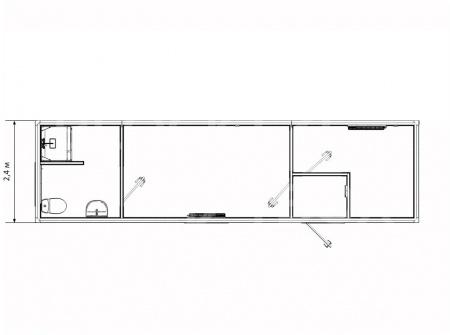 Блок-контейнер для проживания с рабочим кабинетом — дополнительное фото 3