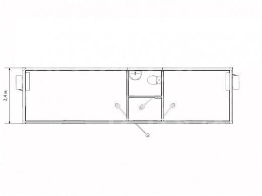 Блок-контейнер штаб строительства с санузлом и кухней — дополнительное фото 3