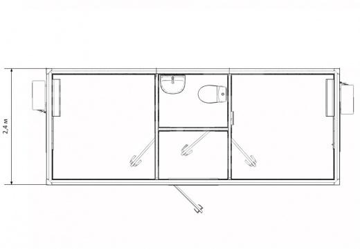 Блок-контейнер штаб строительства с двумя кабинетами и санузлом — дополнительное фото 3