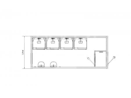 Блок-контейнер сантехнический с душевыми кабинками — дополнительное фото 3