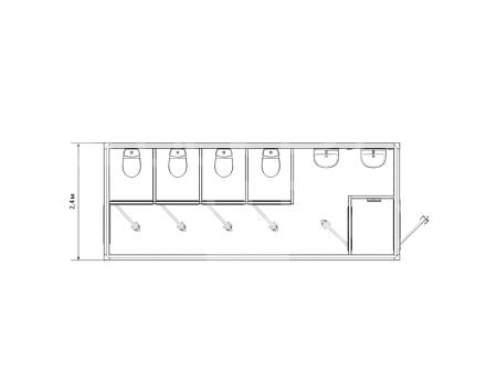 Блок-контейнер сантехнический с туалетными кабинками — дополнительное фото 3