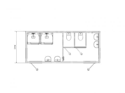 Блок-контейнер сантехнический с душевыми и туалетными кабинками №1 — дополнительное фото 3