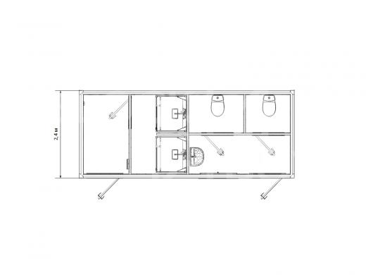 Блок-контейнер сантехнический с душевыми и туалетными кабинками №2 — дополнительное фото 3