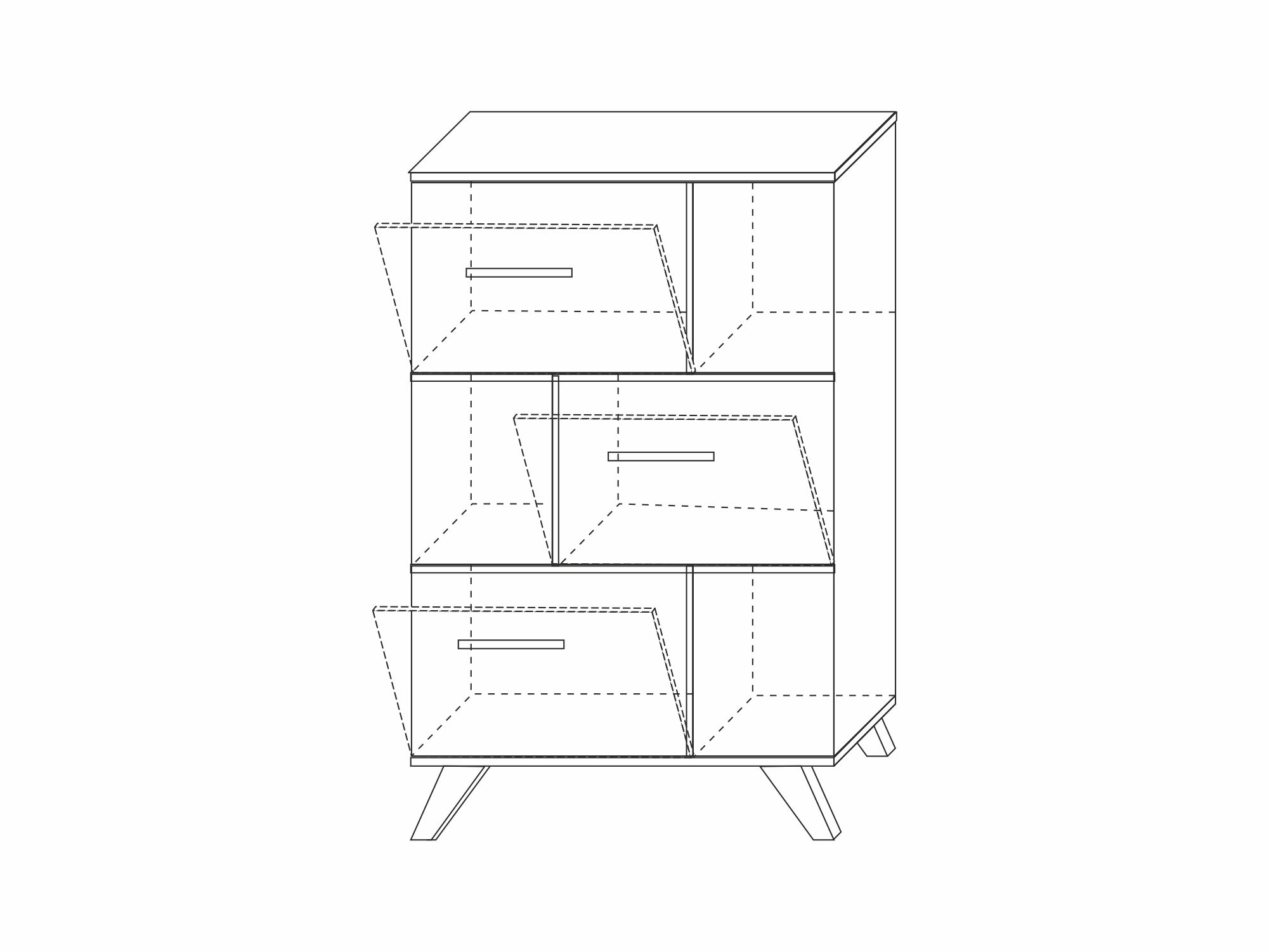 Шкаф низкий с нишами «Вега Скандинавия» (силк флай) Кураж