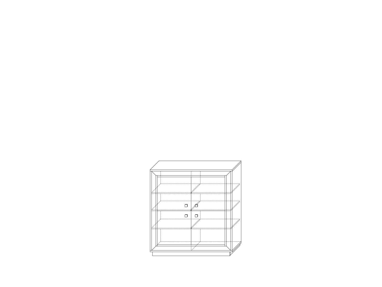 Шкаф 4-х дверный 1364 низкий «Прато» Кураж