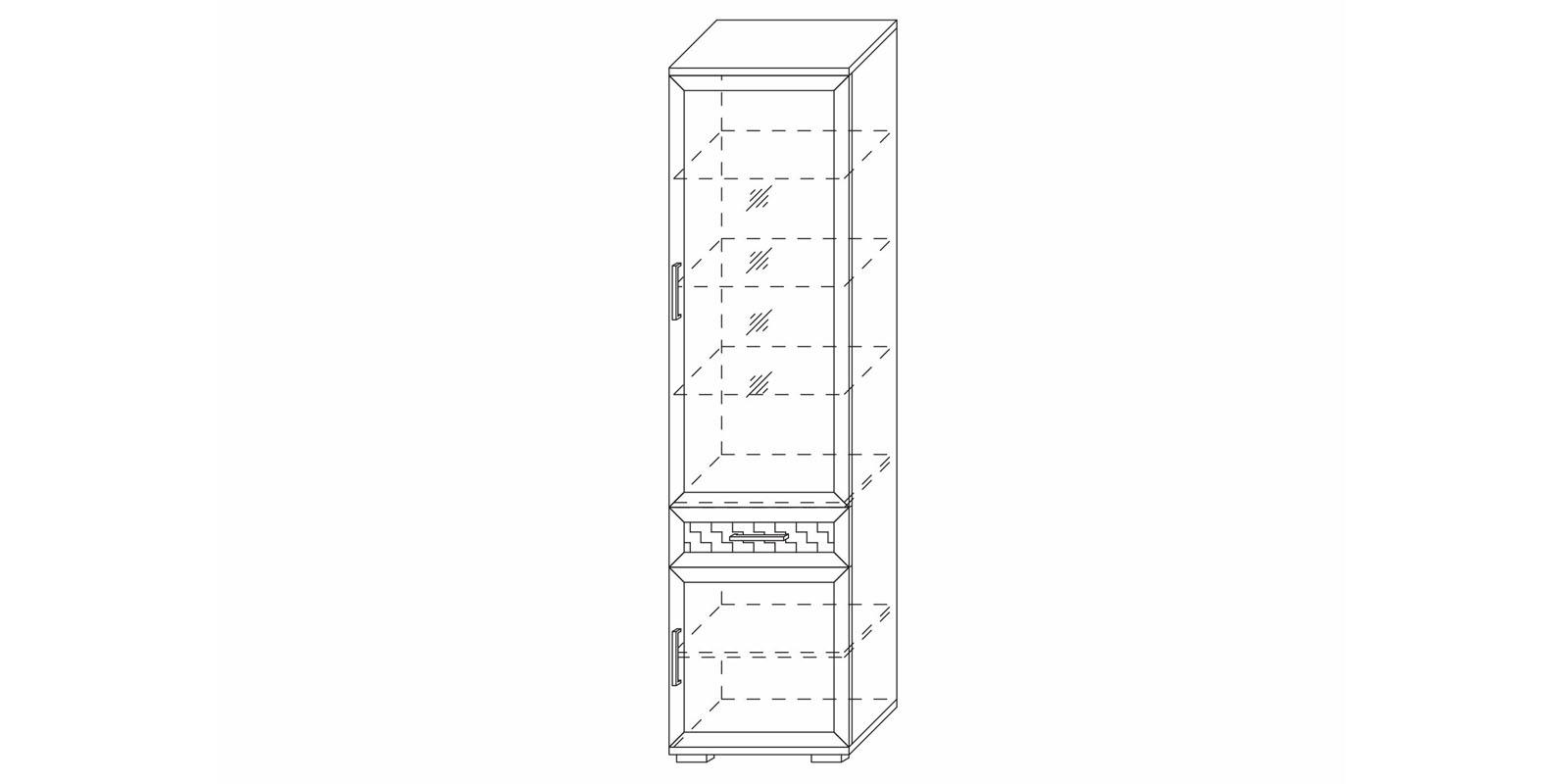 Шкаф 600 со стеклом «Парма Люкс» Кураж