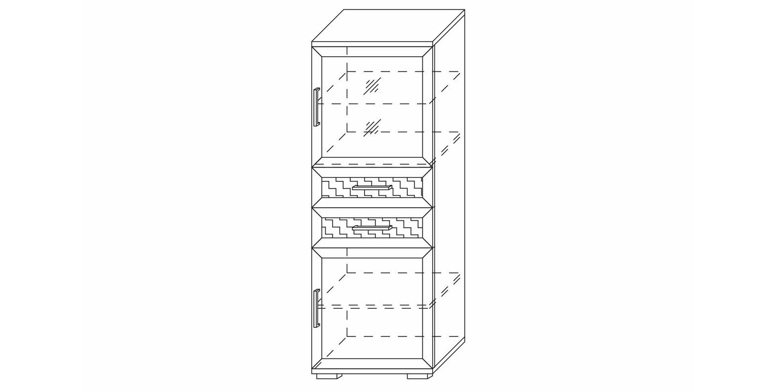 Шкаф низкий со стеклом «Парма Люкс» Кураж