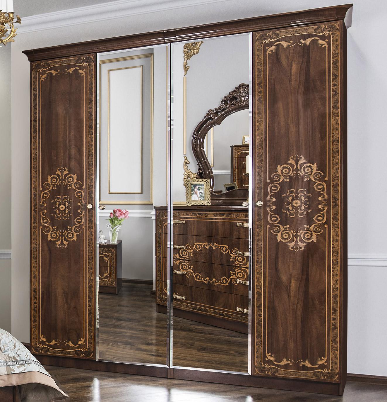 Шкаф четырехдверный с зеркалом «Патрисия» ЭРА