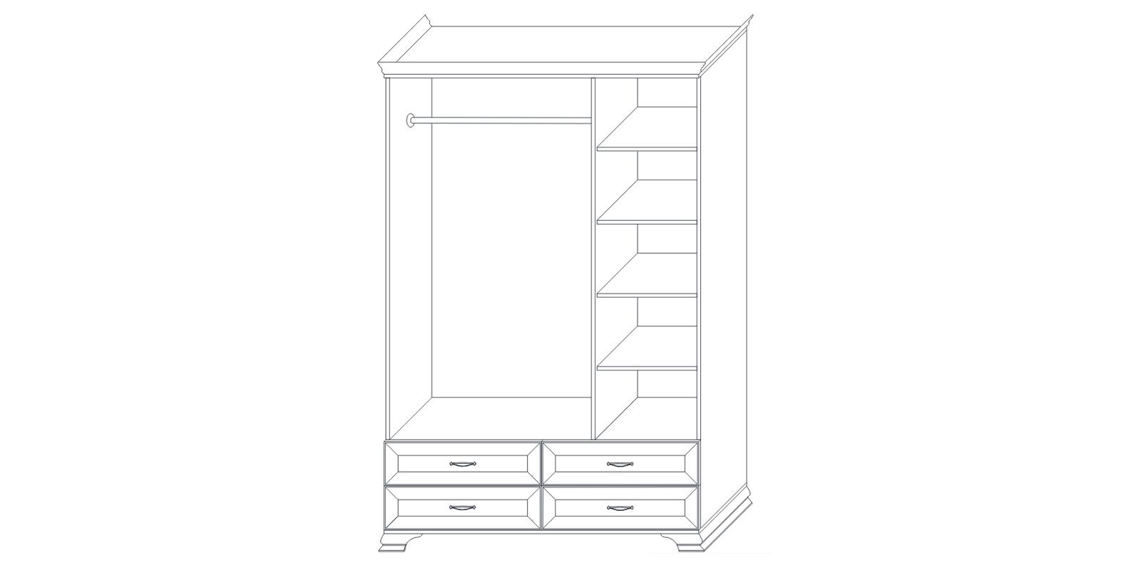 Шкаф трехдверный (корпус) «Сиена» Кураж