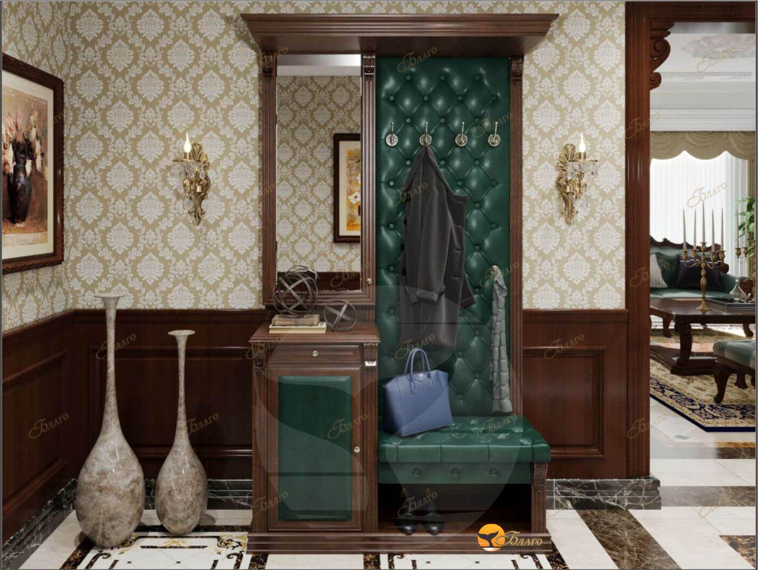 Прихожая с тумбой и зеркалом Б5-11-1 (орех+экокожа изумруд) Благо