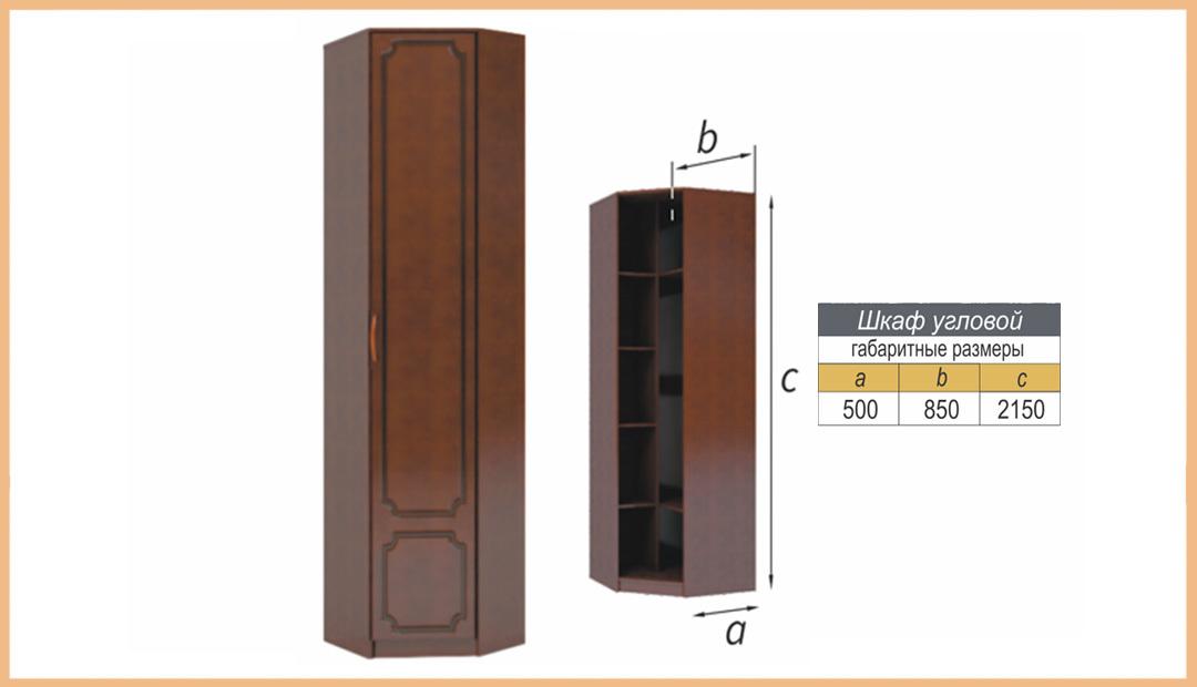 Шкаф угловой ШРУ одежда и бельё «Лакированный» лак Bravo