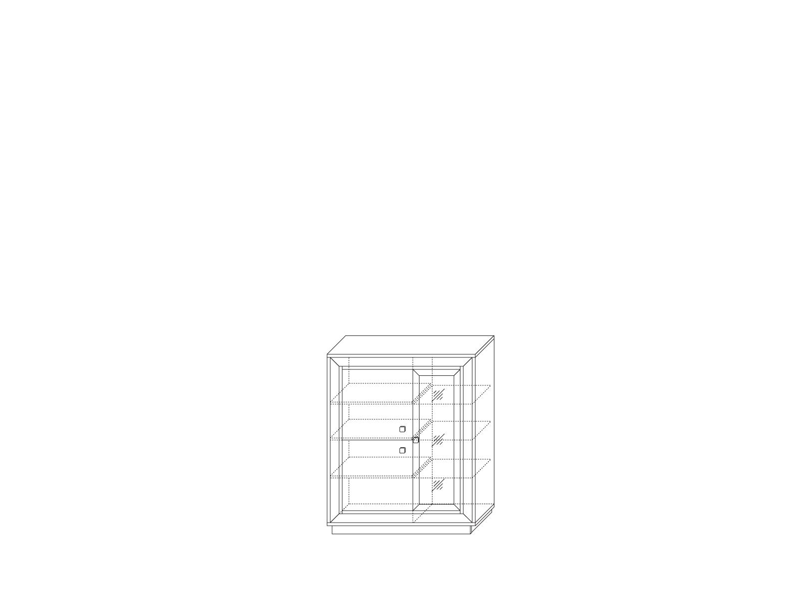 Шкаф 3-х дверный (1 стеклодверь) 1179 низкий «Прато» Кураж