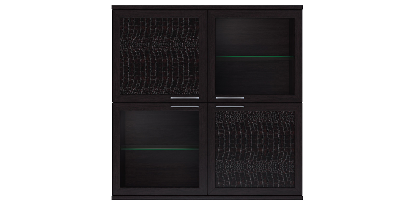 Полка 4-х дверная (2 стеклодвери) «Парма Люкс» Кураж