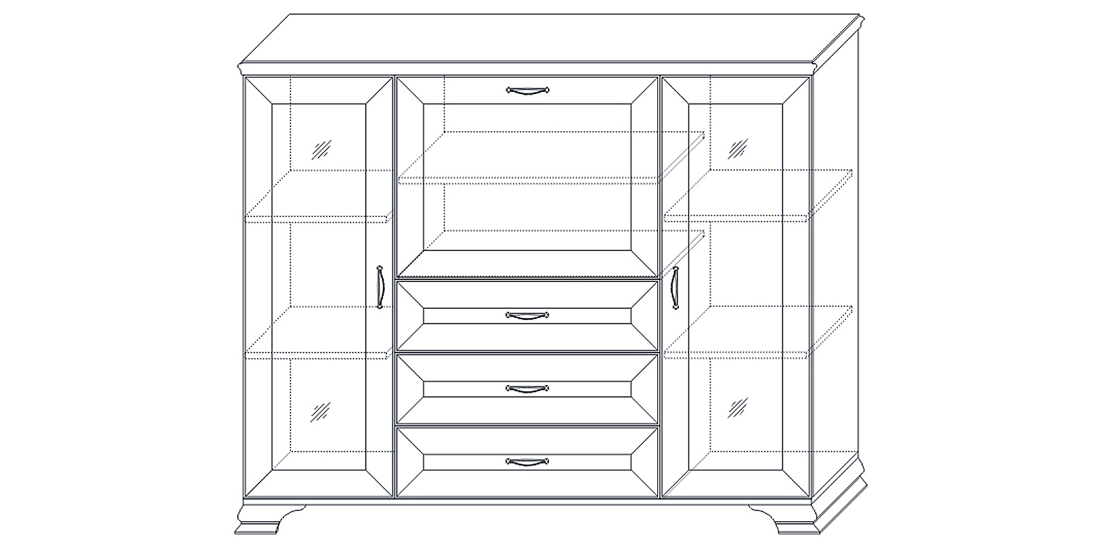 Шкаф низкий (2 стеклодвери) «Сиена» Кураж