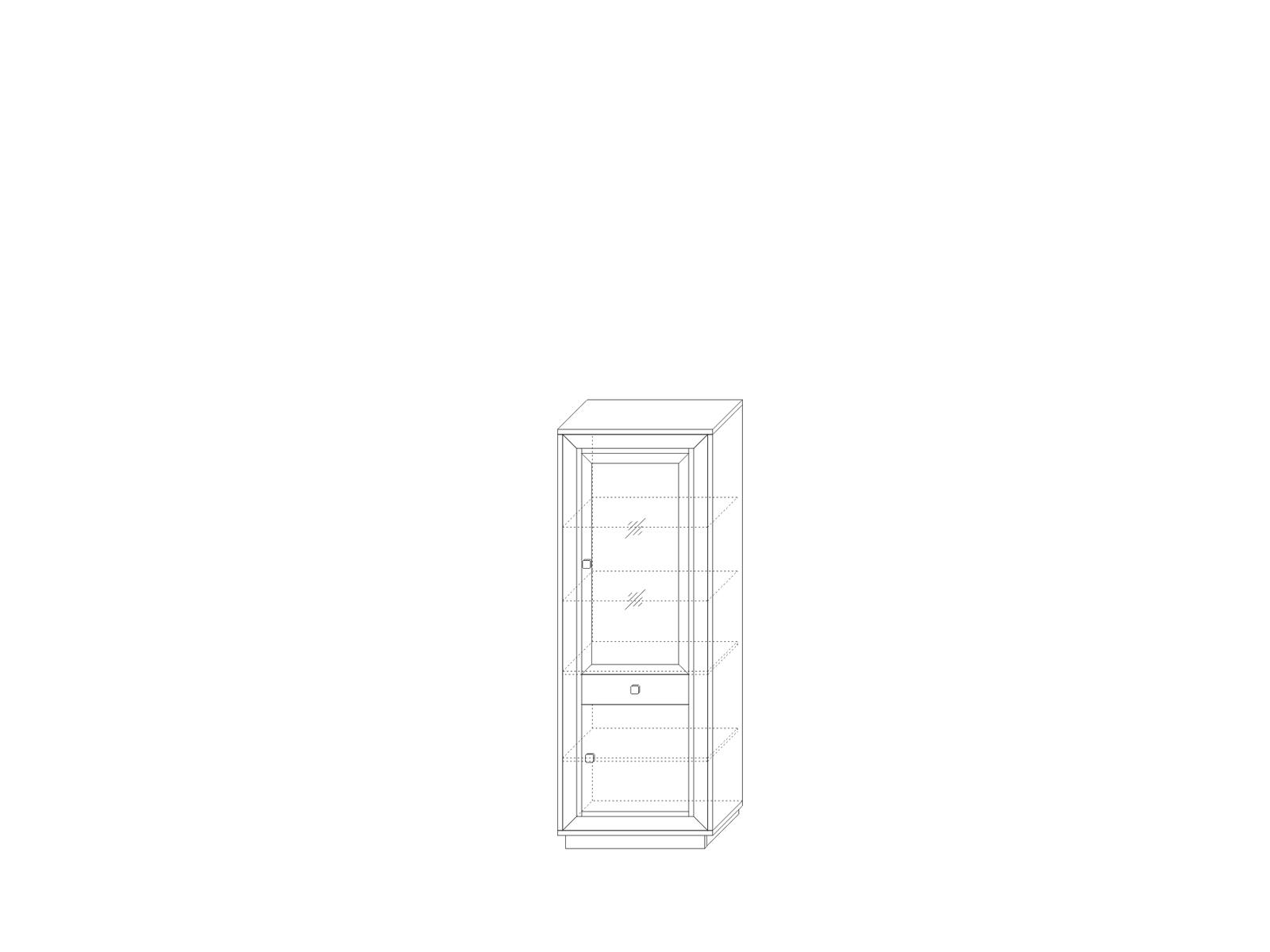 Шкаф 776 (1 cтеклодверь 1 ящик) «Прато» Кураж
