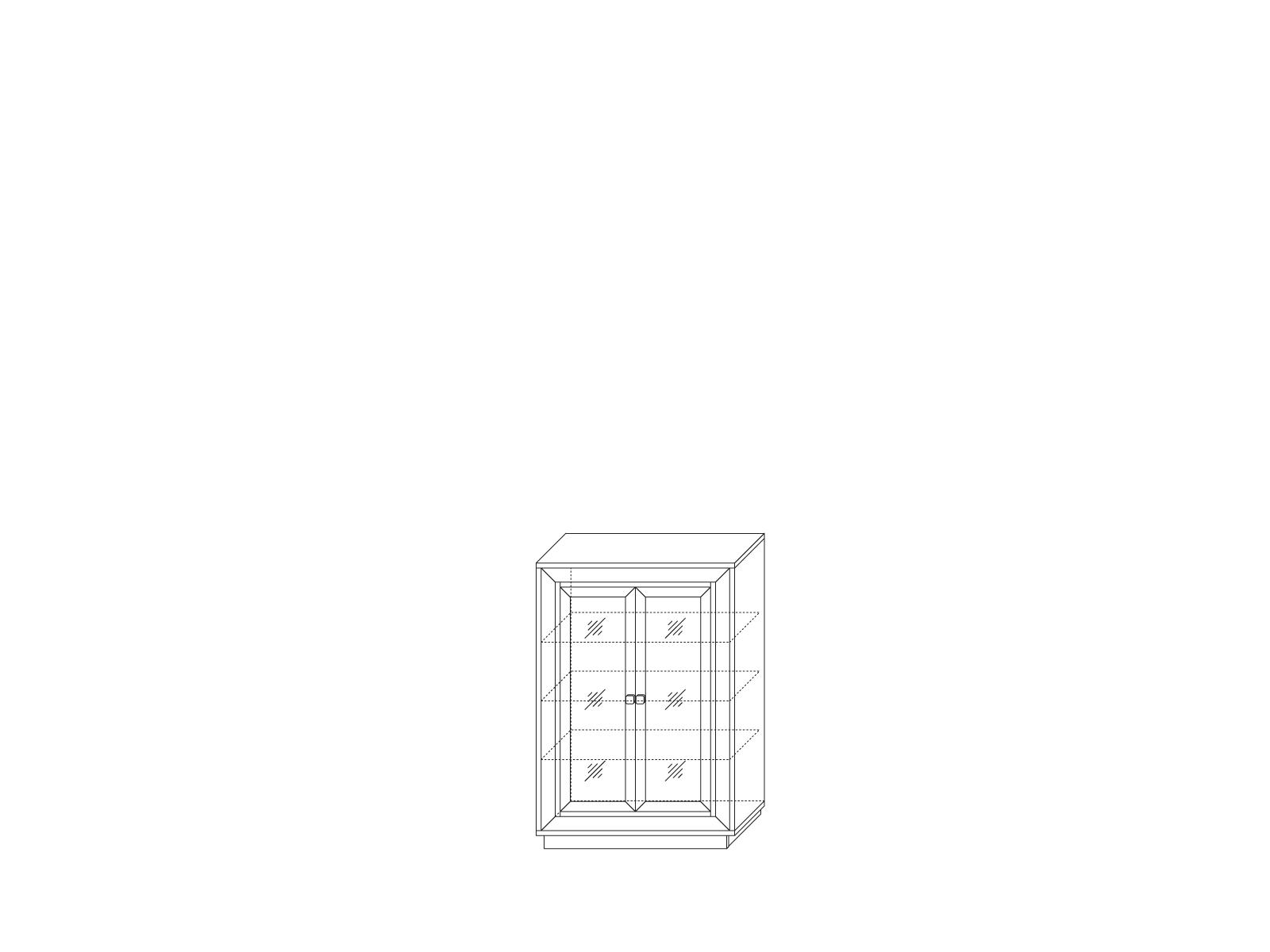 Шкаф 2-х дверный (2 стеклодвери) 998 низкий «Прато» Кураж